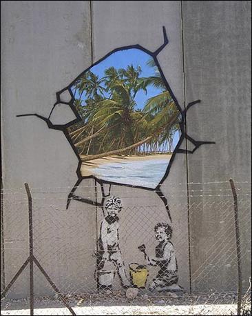 Banksy sul muro di Gerusalemme