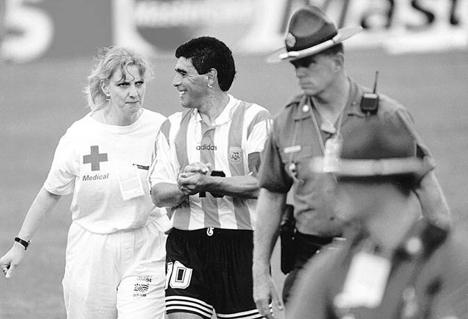 Maradona, dopo Argentina-Nigeria 2-1 ai mondiali '94 negli Stati Uniti. Diego uscì positivo all'antidoping e terminò la carriera tra ferocissime polemiche contro la Fifa