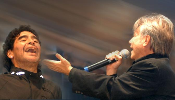 Maradona al concerto di Nino D Angelo ad Acerra (Pressphoto)