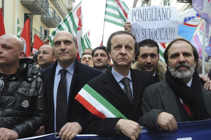 Manifestazione contro la chiusura dello stabilimento Fiat di Pomigliano