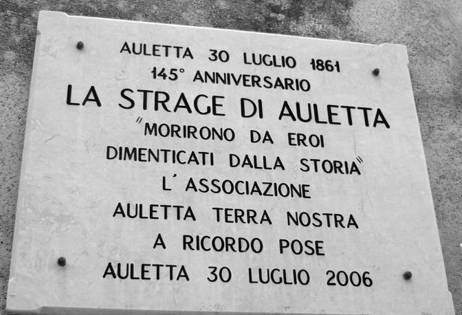 Una targa in memoria del massacro dei «briganti»