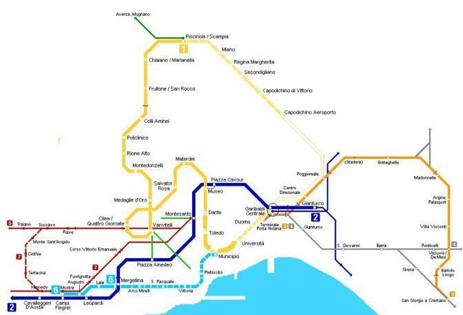 Il tracciato complessivo del trasporto su rotaia a Napoli e in provincia