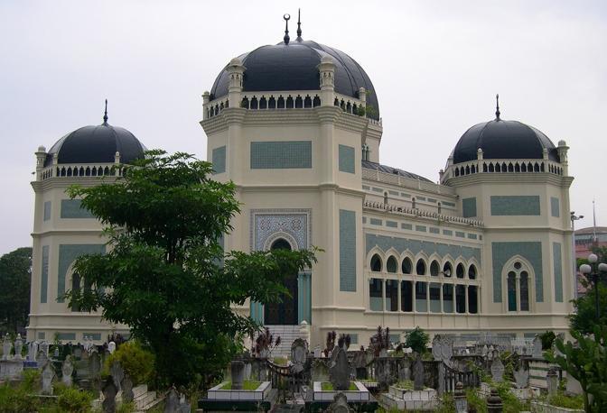 La moschea di Medan in Indonesia