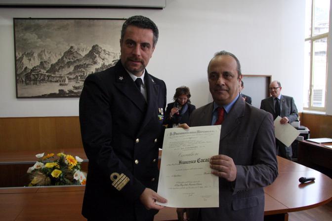 Con Francesco Cacace, capitano di fregata marina militare