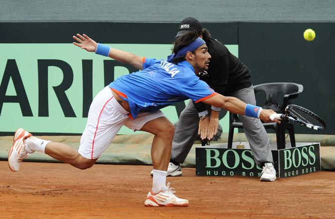 Italy s Fognini to Chile s Capdeville during a Davis Cup World Group Play-off round tennis match in Naples Italy Friday Sept 14 2012 (AP Photo/Salvatore Laporta) -------------------------------------------------------------------------------- - coppa devis - fotografo pressphoto