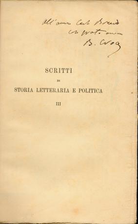 Dedica autografa di Croce a Carlo Bonardi