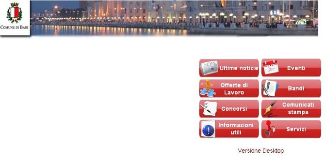 Il sito in versione «mobile»