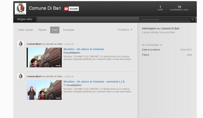 La pagina su YouTube