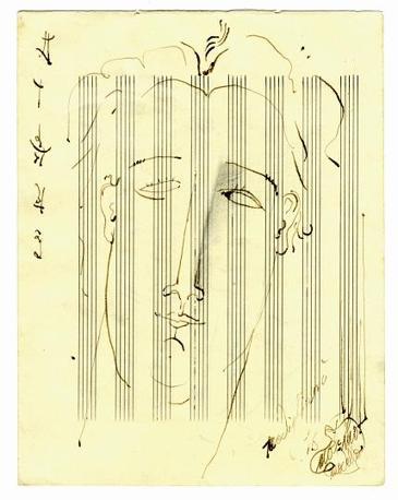 Ritratto di Manuello, matita su carta da musica (1916)