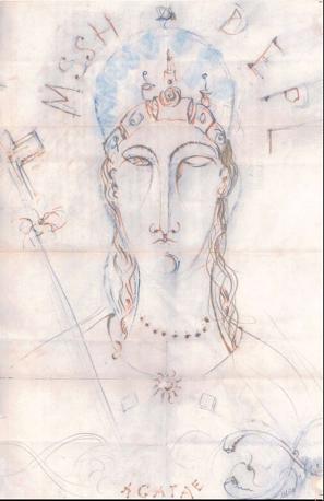 Ritratto di Agatae (1919), Inchiostri colorati e matita su carta. È il disegno inedito del maestro livornese esposto a Castello Ursino, a Catania