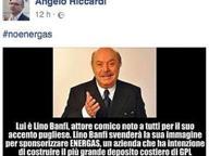 Banfi attore nello spot di Energas Il sindaco Riccardi: «Si è svenduto»