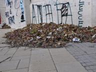 Lecce, strade a rischio allagamento per i cumuli di carte e foglie secche